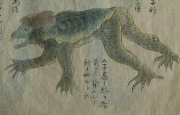 Kappa caught in 1801 in a net Mito Domain's east beach (now Ibaraki Prefecture). From a 1836 copy by Reikai 霊槐 of Koga Tōan (Public Domain)