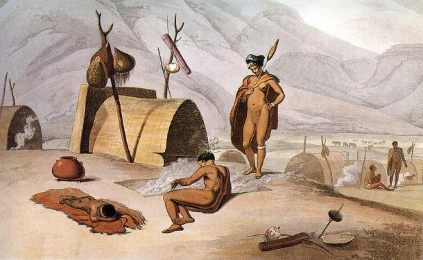 """""""Khoisan engaged in roasting grasshoppers on grills"""" (1989 caption) 1805 aquatint by Samuel Daniell. (Public Domain)"""