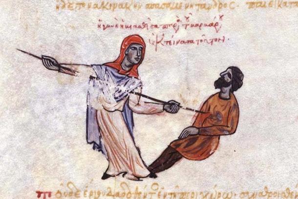 A Thracesian woman kills a Varangian.