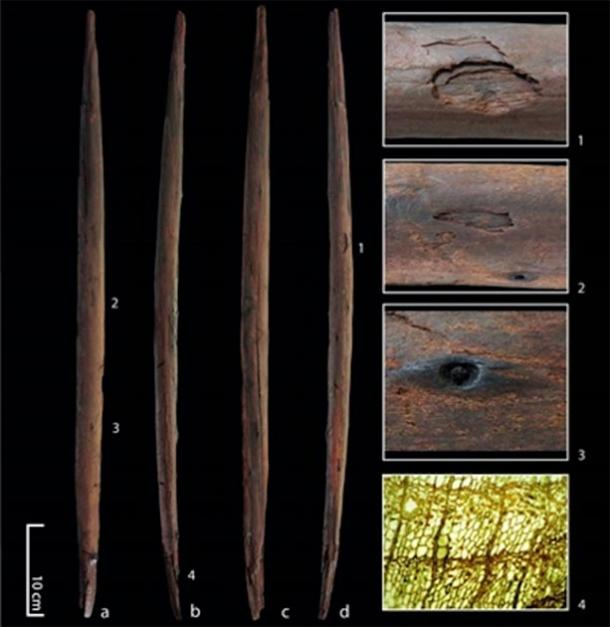 The 'killing stick' from the Schöningen site in Germany with four views of the artifact and details showing impact marks. (Eberhard Karls Universität Tübingen)