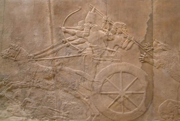 The king hunting lion from the North Palace, Nineveh seen at the British Museum