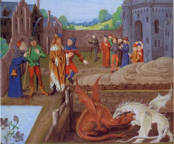La iluminación de un manuscrito del siglo 15 de Historia Regum Britanniae mostrando rey de los británico Vortigern y Ambros waching la lucha entre dos dragones