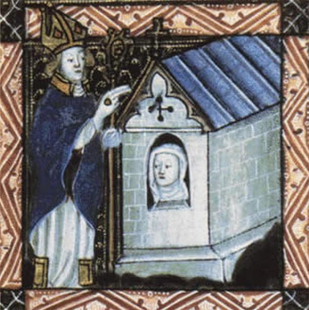 Enclosing of an anchoress (14th century). Cambridge, Corpus Christi College, MS 079: Pontifical, CC BY-NC-SA