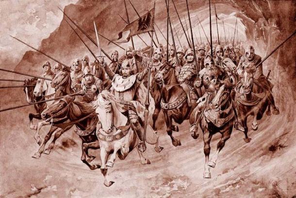 The knights of Blaník set off from the mountain (Věnceslav Černý, 1898). Source: Public Domain