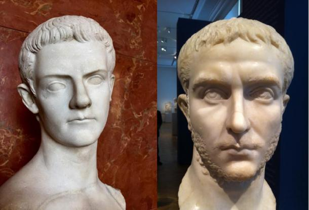 L, Gallienus (Berlin), R, Caligula (Paris) (Images: Joseph Saleh/Georgia Institute of Technology)