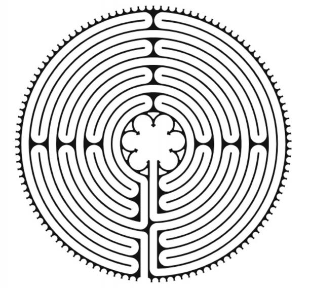 Plan of the labyrinth of Chartres Cathedral.