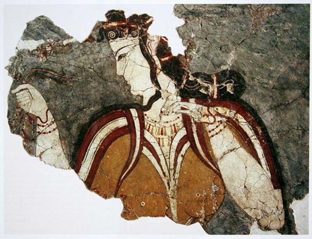 The lady from Mycenae as depicted in a fresco at Mycenae, mainland Greece
