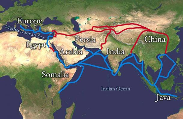 This map shows the land route of the Silk Road in red and sea routes in blue.