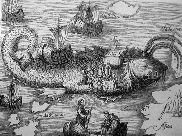 """The crew of St. Brendan """"lands"""" on the whale-island."""
