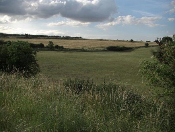 The lush landscape of the prehistoric Durrington Walls site.