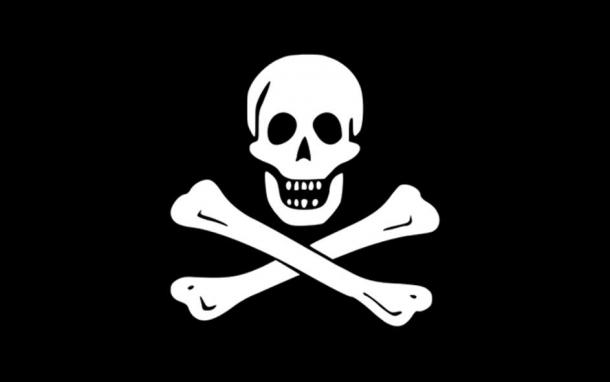 """""""...they spread a large black flag, with a Death's Head and Bones across, and gave chase to Cap't. Prince under the same colours."""" – Thom. Baker (Bellamy's crew). (WarX/CC BY-SA 3.0)"""