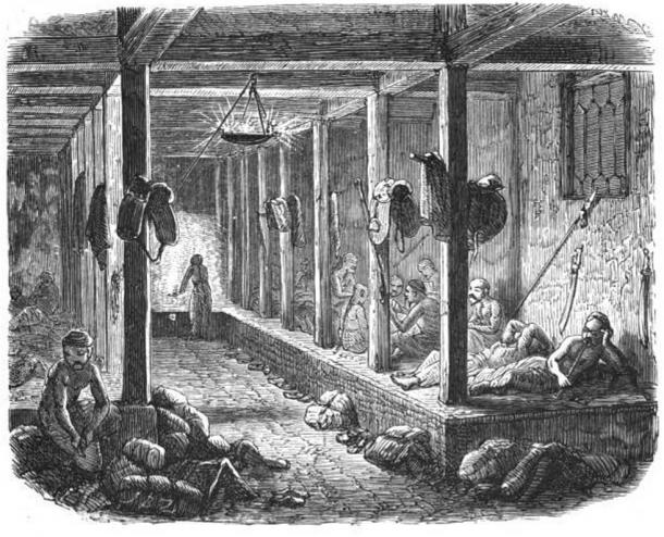 Illustration of a large kang shared by the guests of a one-room inn in a then-wild area east of Tonghua, Jilin. 1887.