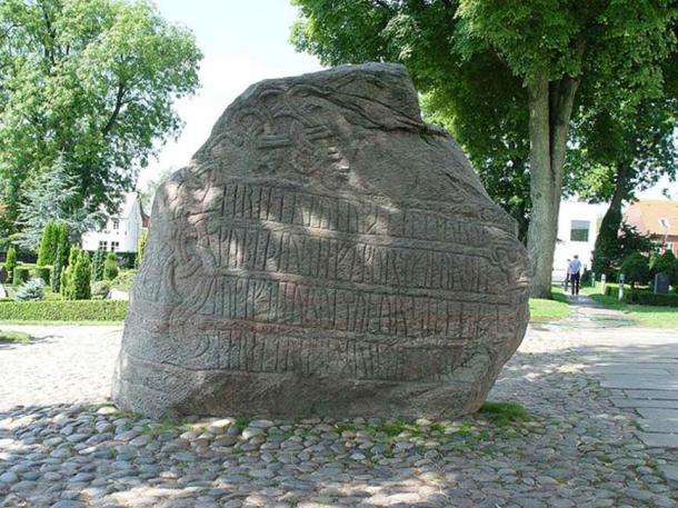 The larger Jelling stone, showing the inscription concerning Harald.