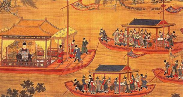 A larger-than-life Wanli Emperor enjoying a lavish boat ride on a river with a large entourage of guards and courtiers. (Public Domain)