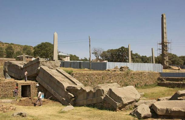 The largest Aksumite stele, broken where it fell.