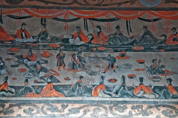 A late Eastern Han (25–220 AD) Chinese tomb mural showing lively scenes of a banquet, dance and music, acrobatics and wrestling, from the Dahuting Tomb.