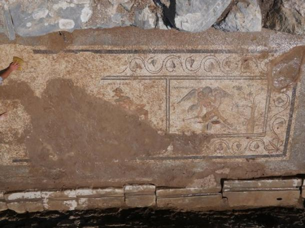 Mosaic found in 2nd century latrine in Antiochia ad Cragum (today in Turkey). Credit: Antiochia ad Cragum Excavations