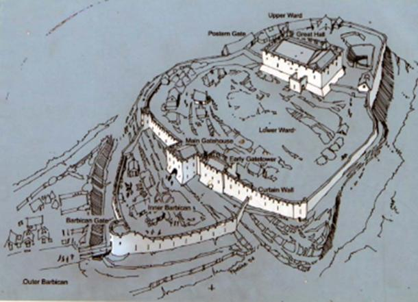 Layout of Rock of Dunamase. Photo taken from information board at Dunamase.