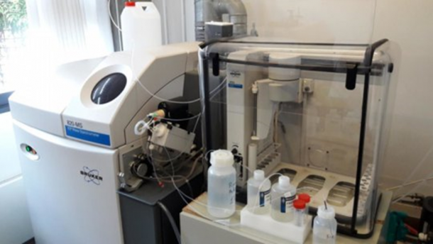 The lead pipe sample is being analyzed at University of Southern Denmark. Credit: SDU