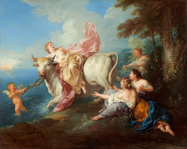 Painting depciting the legend of Europa and the White Bull, Zeus. The sorceress 'Thrace' was said to be daughter of Oceanus and sister to Europa.