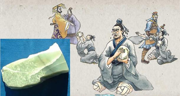 Drawings depicting the legend of the He Shi Bi and a piece of unworked jade.