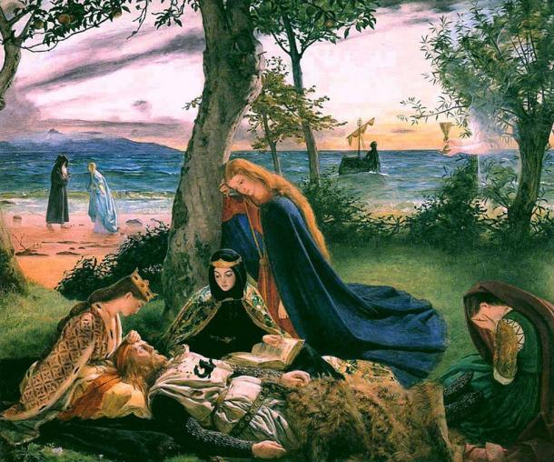 Was the legendary King Arthur buried on Bardsey Island? Painting, La Mort d'Arthur (The Death of King Arthur) by James Archer (1860).