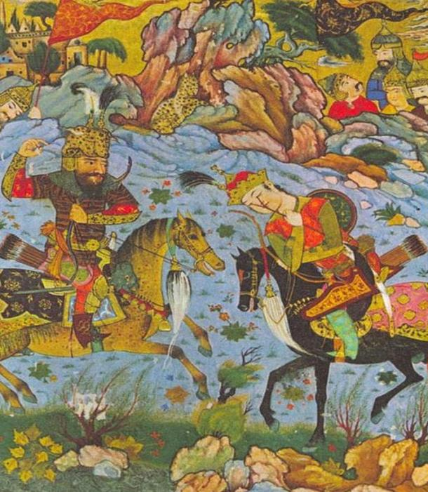 Naqsh-e Rustam is named after the legendary figure Rustam, who is depicted here killing Esfandyar.