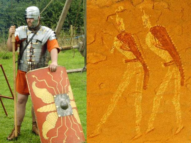 Left, Roman legionnaire reenactor in period gear. Right, Jabbaren rock painting.