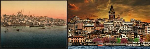 To the left lies Europe, old Trakya 1900 (Public Domain) and to the right lies Asia, old Anatolia (Public Domain)