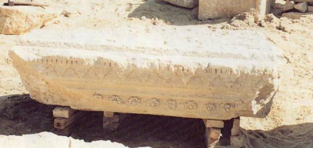 The lintel from the burial chamber of the tomb showing the eight-petal rosettes, a symbol of Macedonian royalty.