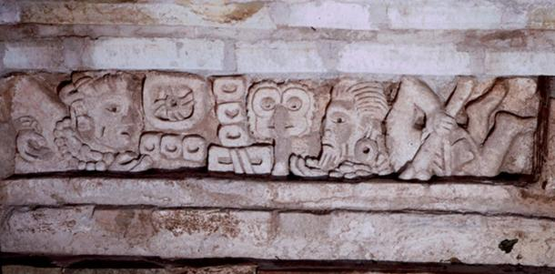 A lintel of a tomb previously excavated at Lambityeco