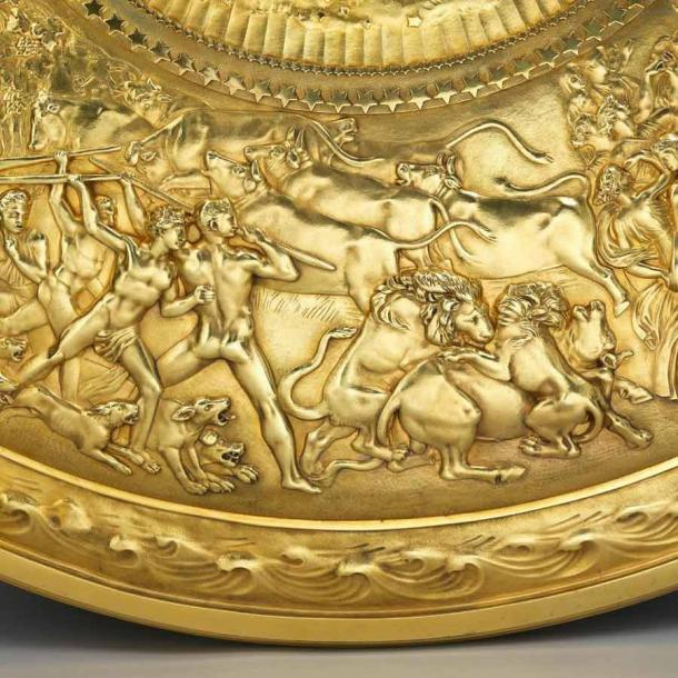 Detail of lions attacking a bull on the Shield of Achilles, 1823. (koopman rare art)