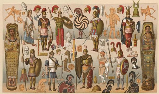 A lithograph plate showing ancient Greek warriors with a variety of different weapons and armor