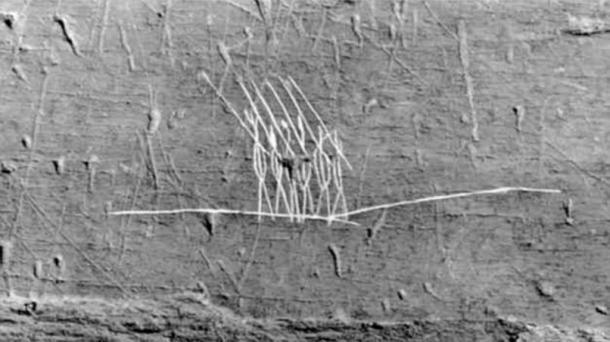 A local aboriginal petroglyph found on Oak Island, believed by J. Hutton Pulitzer to depict Roman legionaries.
