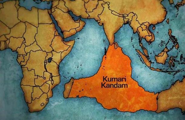Proposed location of Kumari Kandam.