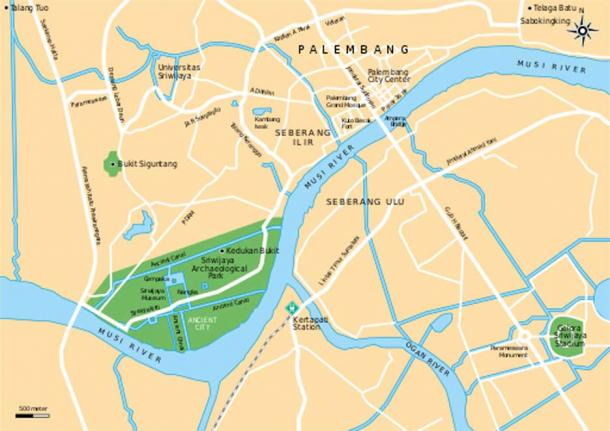 The location of Srivijaya Kingdom Archeological Park within Palembang city, South Sumatra Province, Indonesia.