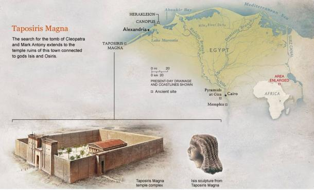 The location of Taposiris Magna, a drawing of the temple complex and an Isis sculpture.