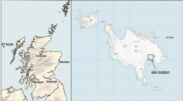 Location of the Hirta excavation site in the Scottish archipelago of St. Kilda