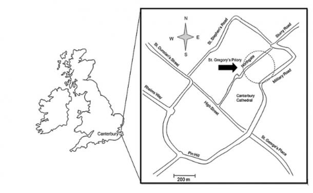 Approximate location of St. Gregory's Priory in contemporary central Canterbury, UK.