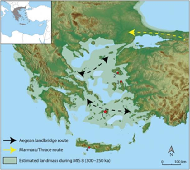 Location of Stelida archaeological site and hypothesized hominin migration. (Science Advances)