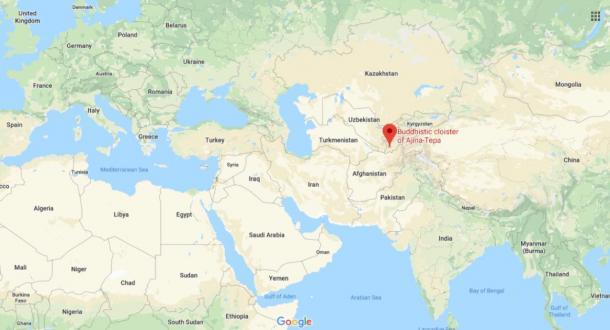 The location of Ajina-Tepa, Tajikistan (Google Maps)