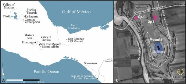 Location of Etlatongo in Mesoamerica and the setting of its ballcourt. (Science Advances)