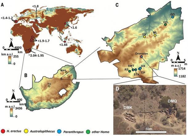 The location of the Drimolen Cave Complex. (Herries / Science)