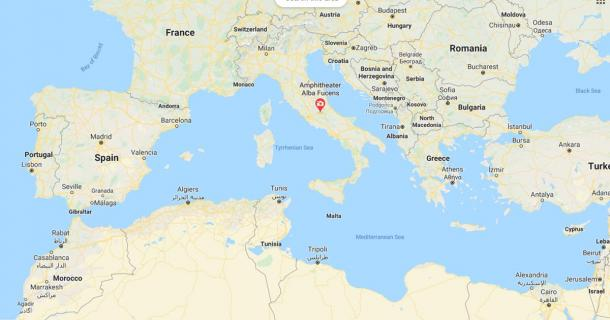 The location of Alba Fucens, central Italy, Europe (Google Maps)