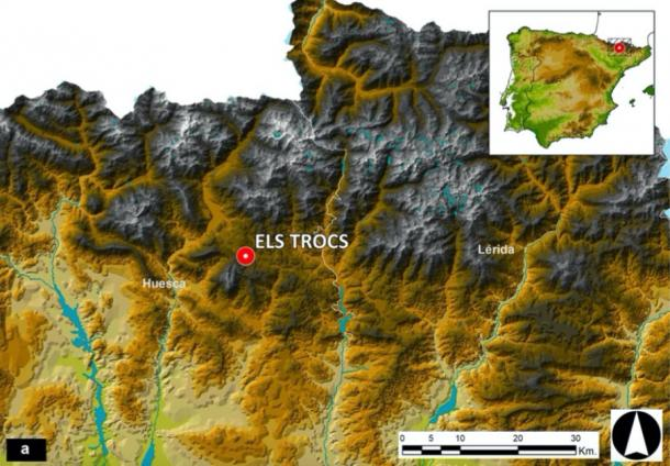 Location of the site and the two neighboring northeastern Spanish provinces of Huesca and Lérida (Lleida) on a topographic map of the Spanish Pyrenees. (University of Valladolid / Scientific Reports)