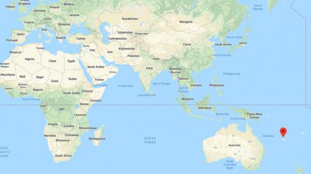 The location of New Caledonia (Google Maps)