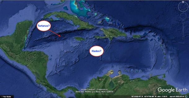 The possible locations of Tartarus and Hades.