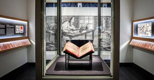 After its long journey, the Codex Argenteus, or Silver Bible, is now kept at Uppsala University Library encased in bulletproof glass. (Uppsala University Library)
