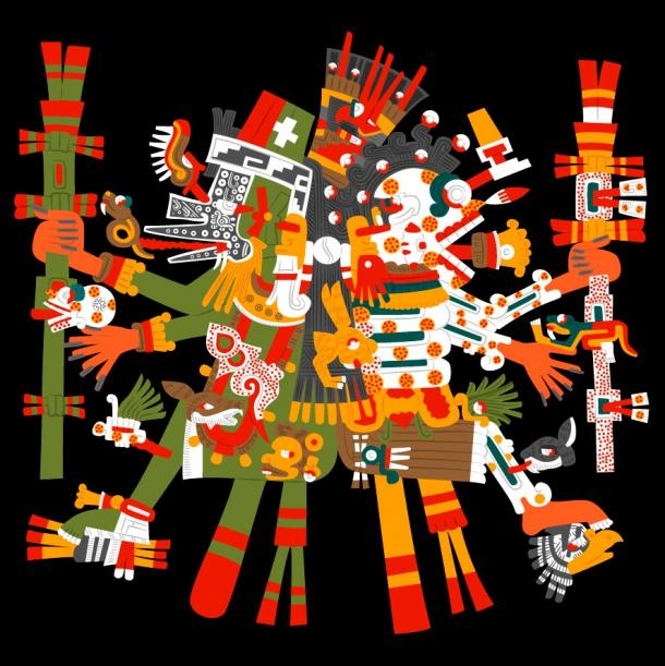 Mictlantecuhtli, god of death, the lord of the Underworld and Quetzalcoatl, god of wisdom, life, knowledge, morning star, patron of the winds and light, the lord of the West. Together they symbolize life and death