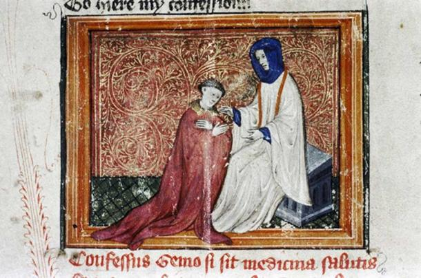 The lover and the priest in the 'Confessio Amantis', early 15th century. MS Bodl. 294, f.9r.
